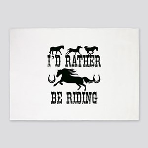 I'd Rather Be Riding Horses 5'x7'Area Rug